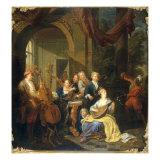 Figures on a Terrace Playing Music Giclée-tryk af Joseph Van Aken