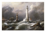 H.M.S. 'Lord Warden' off the Eddystone Lighthouses, 1882 Reproduction procédé giclée par Richard Bridges Beechey