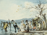 Skaters on the Serpentine, Hyde Park, London, 1786 Giclee-trykk av Julius Caesar Ibbetson