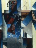 Violon et gravure accrochee (Violin and print), 1913 Giclée-tryk af Juan Gris