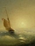 Sailing Barge at Sunset, 1856 Giclée-tryk af Ivan Konstantinovich Aivazovsky