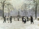 Snow Scene in the Kongens Nytorv, Copenhagen Gicléetryck av Paul Gustav Fischer