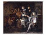 Gentlemen Tasting Wine in a Cellar Giclée-Druck von Egbert Van Heemskerck