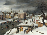 A Winter Scene by a Moated Castle Giclee-trykk av Abel Grimmer