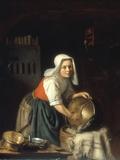 An Interior with a Maid Cleaning Pots Giclée-vedos tekijänä Gabriel Metsu