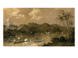 A Naval Engagement in Perak, Malaysia, 1885 Reproduction procédé giclée par Richard Bridges Beechey