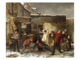 Boys Snowballing, 1853 Giclee Print by William Henry Knight