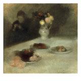 Interior with Woman Knitting Reproduction procédé giclée par Eugene Carriere
