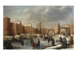 Skaters, Kolf Players, Elegant Ladies and Gentlemen on a Frozen Moat outside City Walls of Kampen Giclee-trykk av Barent Avercamp