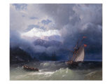 Shipping in Stormy Seas, 1868 Giclée-tryk af Ivan Konstantinovich Aivazovsky