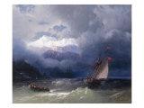 Shipping in Stormy Seas, 1868 Lámina giclée por Ivan Konstantinovich Aivazovsky
