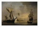 An English Galliot at Anchor with Fishermen laying a Net, 1691 Giclée-Druck von Willem Van De Velde