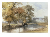 Trees on a Riverbank, Eaton, Norwich, 1847 Giclee Print by John Middleton