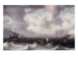 A Fishing Boat on Rough Seas with other Larger Sailing Vessels, 1633 Giclée-Druck von Hendrik Van Anthonissen