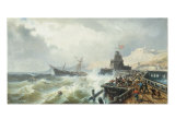 Rescuing a Ship in Stormy Seas Giclee Print by Charles Euphrasie Jnr. Kuwasseg