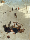 Children Playing in the Snow Giclee Print by Carl Kronberger