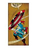Marvel Comics Retro: Captain America Comic Panel  Throwing Shield (aged)