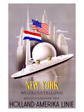 New York to Holland, America Line Giclée-tryk af Willem Ten Broek