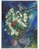 Blumenstrauss mit Schwebendem Liebespaar Kunstdrucke von Marc Chagall