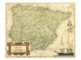 Mappa della Spagna Poster