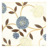 Blue and Cream Flowers on Silk I Art par Norman Wyatt Jr.