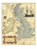 Karta över de brittiska öarna, engelska Affischer av  Vision Studio