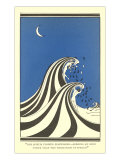 Art Deco Lovers in Waves Poster