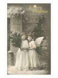 Buon Natale - fanciulla e cherubino Stampe