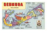 Map of Bermuda Islands Posters