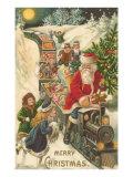 Merry Christmas, Santa on Train Poster