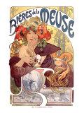 Bières de la Meuse, ølreklame, på fransk Giclée-tryk af Alphonse Mucha