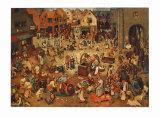 The Fight Between Carnival and Lent Samletrykk av Pieter Bruegel the Elder