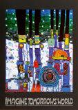 Imagine Tomorrows World (blue) Posters by Friedensreich Hundertwasser