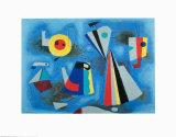 Shapes on Blue Poster af Willi Baumeister