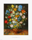 Flowers in a Brown Vase Samletrykk av Jan Brueghel the Elder
