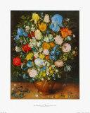 Flowers in a Brown Vase Collectable Print by Jan Brueghel the Elder