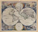 Novissima Totius Terrarum Orbis Tabula, 1679 Giclée-Premiumdruck von Nicolas Visscher