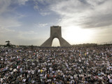 Supporters of Candidate Mir Hossein Mousavi Protest the Election Result at a Mass Rally in Tehran,  Photographic Print