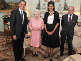 President Obama and His Wife Pose with Queen Elizabeth II and Prince Philip, During an Audience at  Photographic Print