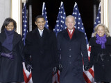 Barack Obama and the Joe Biden, Along with Their Wives, are Introduced at the War Memorial Plaza Photographic Print