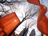 """The Gates"" are Shown in Central Park in New York with Flowing Fabric the Color of a Sunrise Impressão fotográfica"