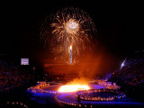 Fireworks Erupt During the Opening Ceremonies of the 2002 Winter Olympics in Salt Lake City Lámina fotográfica