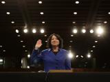 Supreme Court Nominee Sonia Sotomayor is Sworn in on Capitol Hill in Washington Fotografie-Druck
