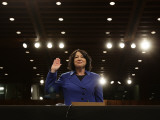 Supreme Court Nominee Sonia Sotomayor is Sworn in on Capitol Hill in Washington 写真プリント