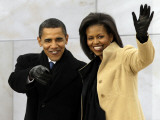Barack Obama and His Wife Arrive at the Opening Inaugural Celebration at the Lincoln Memorial Premium fototryk