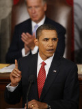 President Barack Obama Gestures While Delivering Speech on Healthcare to Joint Session of Congress Photographic Print