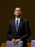President Barack Obama Pauses During the Opening Ceremony of the Summit of the Americas Photographic Print