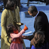 President Barack Obama is Congratulated by his Daughter after Taking the Oath of Office, Washington Photographic Print