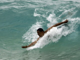 Presidential Candidate Senator Barack Obama, On Vacation, Body Surfing at a Beach, Honolulu, Hawaii Photographic Print