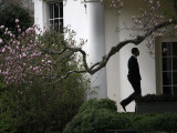 President Barack Obama Walks Down the Colonnade to the Oval Office of the White House Fotografisk tryk